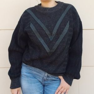 Vintage chunky sweater with leather details